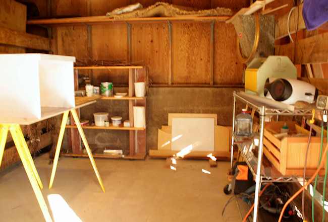 My work room with the kitchen being built