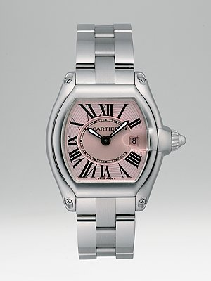 Cartier Roadster watch. Stainless steel body and bracelet with pink lacquered dial. Price $ 4,825.00