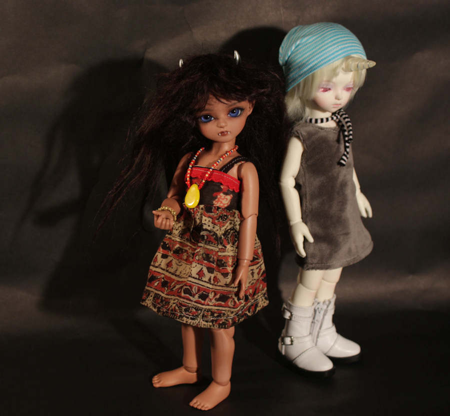 Bambicrony and Soom dolls wearing dresses that I have made for them