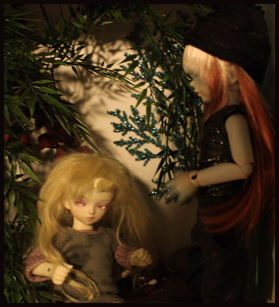 Moth and Banruu.  Banruu finds the unicorn girl Moth resting in a clearing in the forest. She has been hidding from him ever since he made it clear that he could never love her in the way she wants.